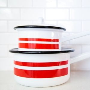 Vintage Enamelware Set Two White / Red Sauce Pans